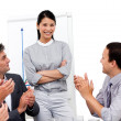 Asian businesswoman applauded for her presentation — Stock Photo