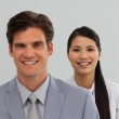International Business standing in a line — Stock Photo