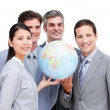 Royalty-Free Stock Photo: Portrait of a multi-ethnic businessteam holding a globe