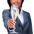 Hispanic businesswoman toasting with Champagne — Stock Photo