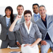 Succesful business team punching the air in celebration — Stock Photo