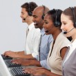 Stock Photo: Customer business representatives at their computer