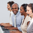 Stock Photo: A diverse business group with headset on