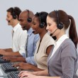 Positive business partners working in a call center - 图库照片