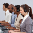 Positive business partners working in a call center — Stock Photo