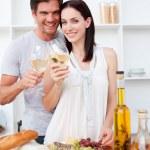 Happy couple toasting with wine — Stock Photo #10317010