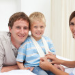 Portrait of a smiling little boy at a medical visit — Stock Photo