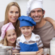 Portrait of family baking in the kitchen — Stock Photo