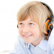 Royalty-Free Stock Photo: Portrait of a cute boy listenning music