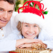 Bright father celebrating christmas with his son — Stock Photo