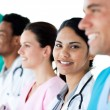 Medical showing diversity in a line — Stock Photo