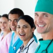 A diverse medical team in a line — Stock Photo
