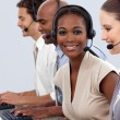 Business co-workers showing diversity in a call center — Stock Photo