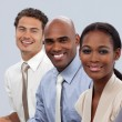 Smiling multi-ethnic business in a line — Foto de Stock