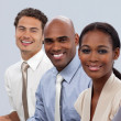 Smiling multi-ethnic business in a line — Stock Photo #10317783