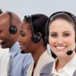Close-up of customer business representatives with headset on — Stock Photo