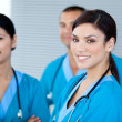 Happy doctor colleagues looking at the camera — Stock Photo