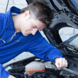 Stock Photo: Concentrated mrepairing car