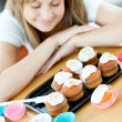 Stock Photo: Caucasiwompreparing cakes in kitchen