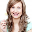 Stock Photo: Beautiful womholding lollipop