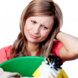Portrait of a tired woman doing housework — Stock Photo #10319710