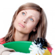 Portrait of a delighted woman doing housework — Stock Photo