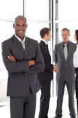 African-america Businessman in Front of Team — Stock Photo