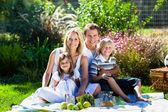 年轻的家庭有一个公园野餐 — 图库照片