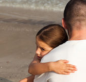 Portrait of a Young Daughter Hugging his father — Stock Photo