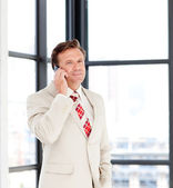 Senior businessman on phone — Stock Photo