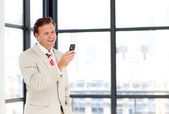 Mature businessman texting with copy-space — Stock Photo