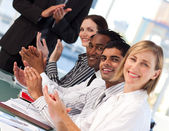 Business applauding after a presentation — Stock Photo