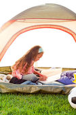 Young girl in tent — Stock Photo