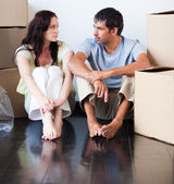 Couple talking about thir new house — Stock Photo