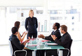Manager having success in a meeting — Stock Photo