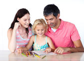 Father and mother drawing with her daughter — Foto de Stock