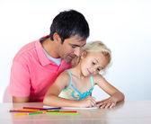 Kızın babası ile çizim — Stok fotoğraf