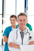 Junior doctor in focus in a line — Stock Photo