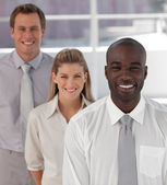 Smiling business team showing Spirit and expressing Positivity — Stock Photo