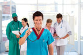 Group of doctors working in a hospital — Stock Photo