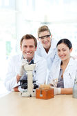 Science students working in a laboratory — Stock Photo