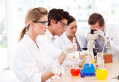 Science students in a laboratory — Stock Photo