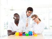 Científicos examinan tubos de ensayo — Foto de Stock