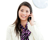 Portrait of a confident businesswoman talking on phone — Stok fotoğraf