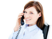 Portrait of a caucasian businesswoman answering the phone — Stock Photo