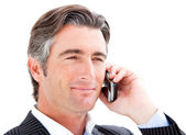 Confident businessman talking on the phone — Stock Photo