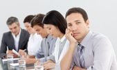 Bored businessman in a meeting — Stock Photo
