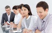 Bored businesswoman at a conference — Stock Photo