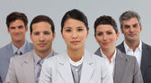 Diverse Business partners standing in a line — Stock Photo