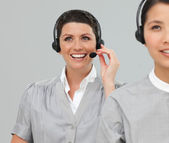 Two Customer service agents with headset on — Stock Photo